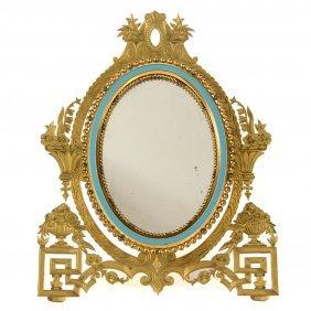 Continental Gilt-brass And Enamel Dressing Mirror