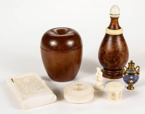 Assorted Turned, Carved, And Enameled Articles, Lot Of