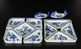 Chinese Blue And White Porcelain Trays And Dishes, Lot