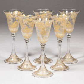 Continental Blown And Gilded Wine Glasses, Set Of Six