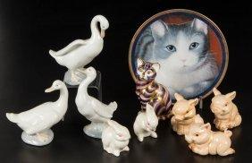 Assorted Animal Ceramic Figures And Plaque, Lot Of Ten