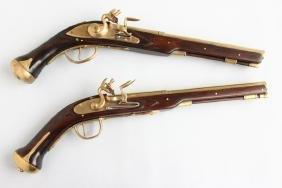 Pair of Reproduction Royal Navy Flintlock Pistol.