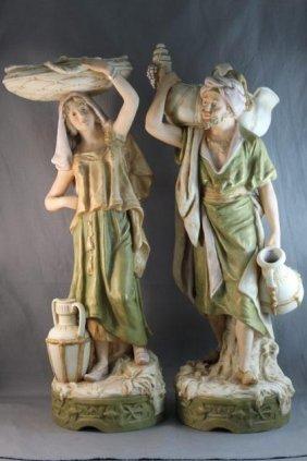 Pair Of Large Royal Dux Porcelain Figures,