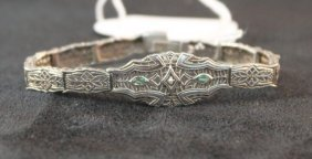 Ladies Emerald And Silver Bracelet,