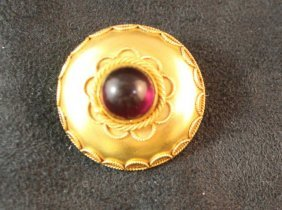 Victorian 9ct Gold And Garnet Brooch,