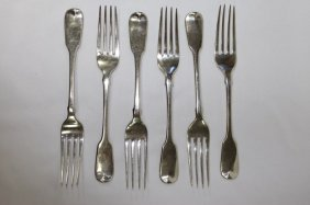 Six Victorian Sterling Silver Entree Forks,