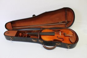 Late 20th Century Full Size Violin And Bow,