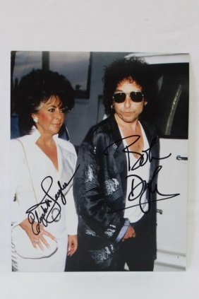 Signed Photograph, Elizabeth Taylor And Bob Dylan,