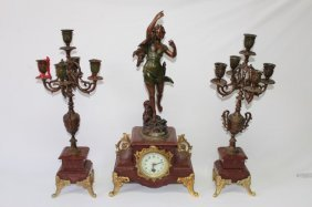 Rouge Marble Figural Mantle Clock Garniture,