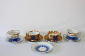 Pair Of Meissen Cups And Saucers, Together With