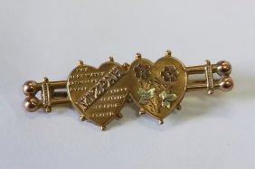 Good 9ct Gold Mizpah Twin Hearts Brooch,