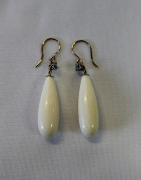 Pair Of Ivory And Aquamarine Earrings,
