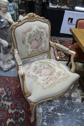 Pair Of Louis Xv Style Gilt Armchairs,
