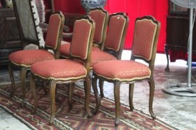 Set Of Five French Louis Xv Style Dining Chairs,