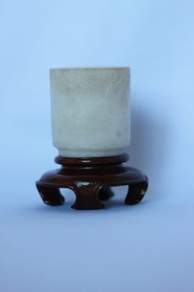 Chinese Carved White Jade Wine Cup,