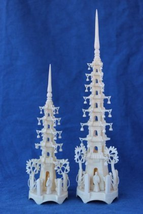 Two Early 20th Century Chinese Ivory Pagodas,