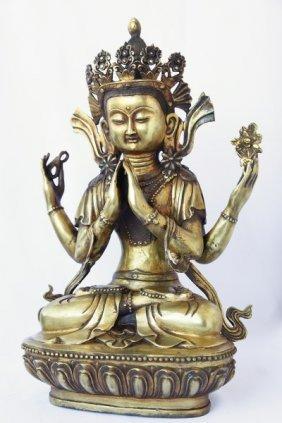 Large Chinese Bronze Buddha Figure,
