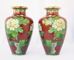 Pair Of Chinese Cloisonne Vases,