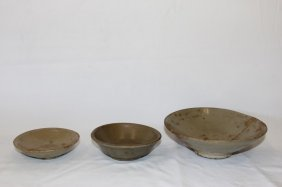 Three Chinese Celadon Bowls,