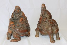 Pair Of Chinese Carved Bamboo Figures,
