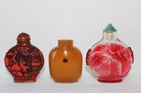 Chinese Agate Snuff Bottle, Together With A Glass