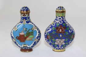 Two Chinese Cloisonne Snuff Bottles And Stoppers,