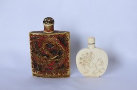 Two Chinese Ivory Snuff Bottles And Stoppers,