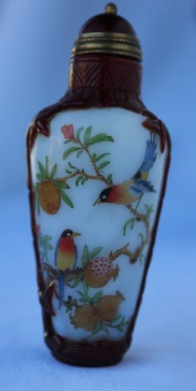 Chinese Peking Glass Snuff Bottle And Stopper,