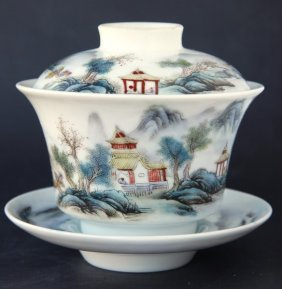 Chinese Porcelain Cup With Cover And Saucer,
