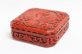 Chinese Cinnabar Lacquered Box And Cover,