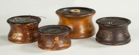 Four Turned Wooden Inkwells