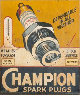Champion Spark Plugs Painted Metal Advertising Sign