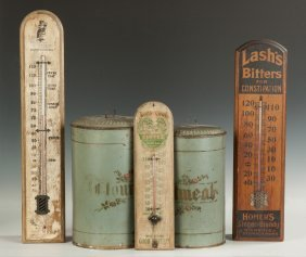 Three Vintage Advertising Thermometers & Two Painted