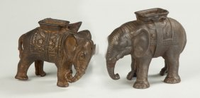 Two Cast Iron Painted Circus Elephant Banks