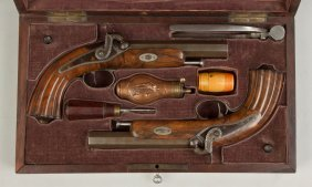 Pair Of French Boxed Dueling Pistols