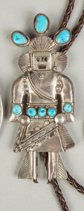 Vintage Navajo Silver & Turquoise Bolero With Zuni