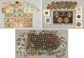 Group Of Various Foreign Coins & Currency