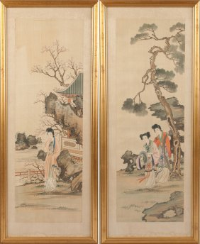 Two Chinese Watercolors On Silk