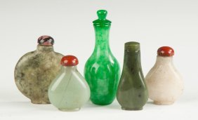 Group Of Various Chinese Jade Snuff Bottles