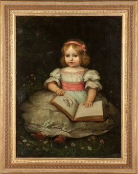 Portrait Of A Young Girl With Dress & Pink Ribbon