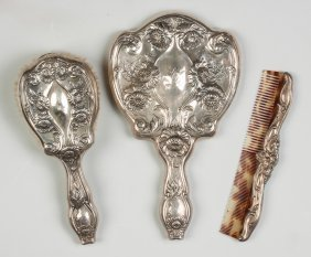 Three Piece Sterling Silver Dresser Set