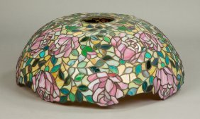 Large Leaded Glass Floral Domed Shade