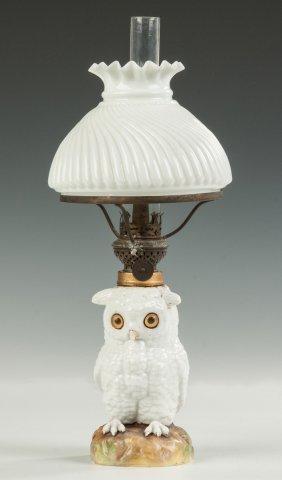 Miniature Milk Glass Owl Oil Lamp