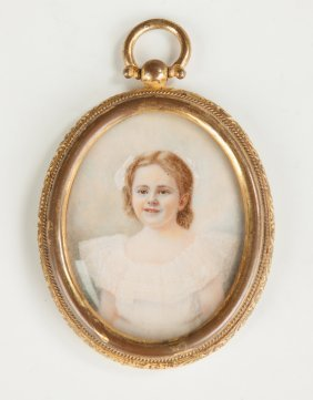 Miniature Of A Young Girl In Engraved Brass Case