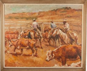 Pal Fried (hungarian/american, 1893-1976) Cattle