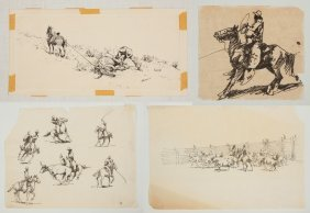Edward Borein (american, 1872-1945) Ink Drawings