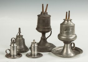 Group Pewter & Tin Whale Oil Lamps