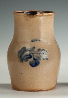 Lyons, Ny, Stoneware Milk Pitcher With Flower