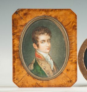 Burl Box With Miniature Of Joseph Bonaparte The Elder