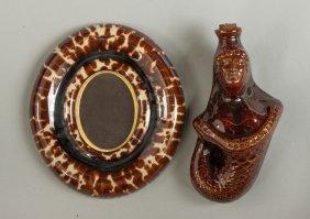 Rockingham/bennington Frame & Rockingham Mermaid Flask